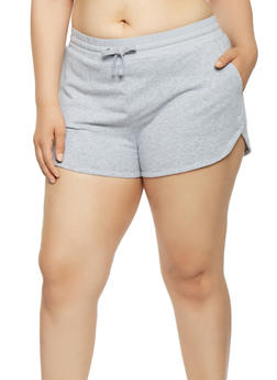Plus Size Solid Dolphin Shorts - 1960054269002