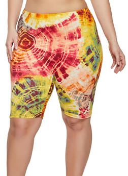 Plus Size Tie Dye Bike Shorts - 1960058751633