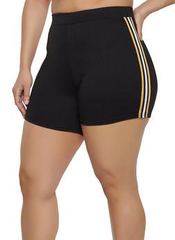 Plus Size Striped Tape Trim Bike Shorts - Black - Size 3X - 1960060580012