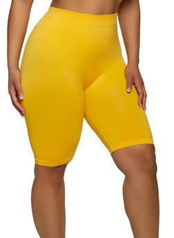 Plus Size Seamless Basic Bike Shorts - 1960061635477
