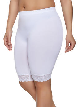 Plus Size Lace Trim Bike Shorts - 1960061635829