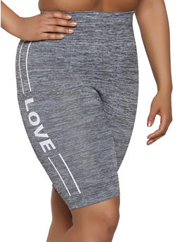 Plus Size Love Graphic Bike Shorts - 1960061635919