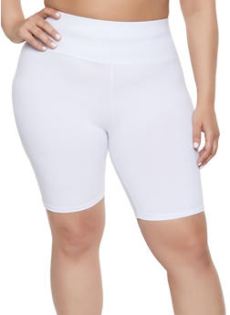 Plus Size Soft Knit Bike Shorts - 1960061635969