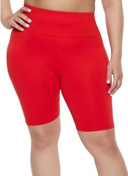 Plus Size Soft Knit Bike Shorts - 1960061635969