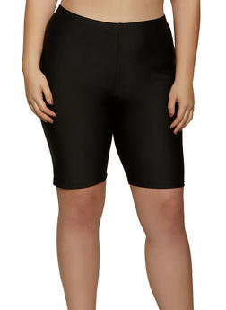 Plus Size Spandex Solid Bike Shorts - 1960062123600