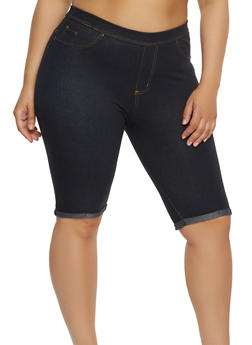 Plus Size Denim Knit Bermuda Shorts - 1960062701011
