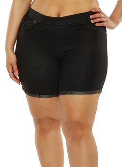 Plus Size Denim Knit Shorts - 1960062701012