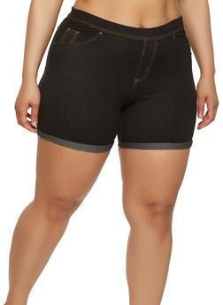 Plus Size Denim Knit Shorts - 1960062701013