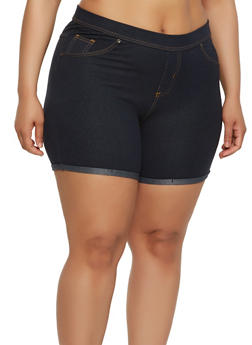 Plus Size Denim Knit Shorts - 1960062701013