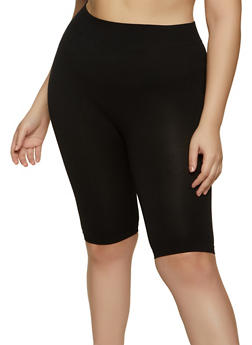 Plus Size Solid Seamless Bike Shorts - 1960062701879