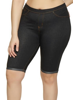 Plus Size Spandex Denim Pocket Bermuda
