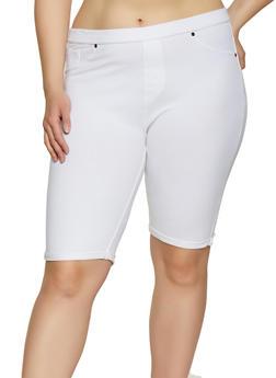 Plus Size White Knit Shorts