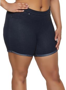 Plus Size Fixed Cuff Shorts - 1960062703251