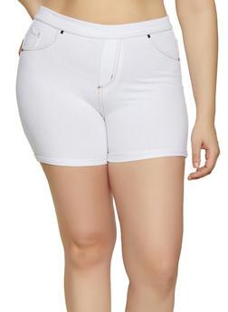 Plus Size Denim Knit Fixed Cuff Shorts - 1960062703252