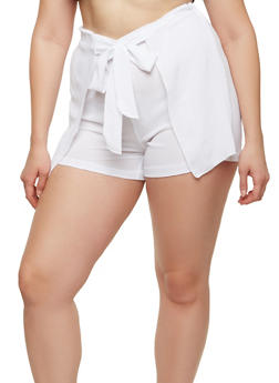 Plus Size Tie Front Shorts - 1960062706261
