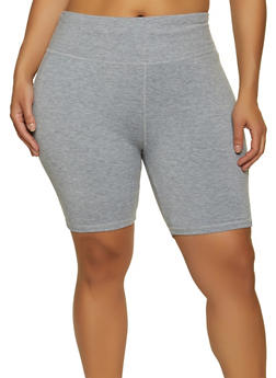 Plus Size Solid Tummy Control Bike Shorts - 1960062709523