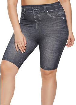Plus Size Printed Denim Knit Bike Shorts - 1960062909173