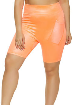 Plus Size Phone Pocket Bike Shorts - 1960062909182