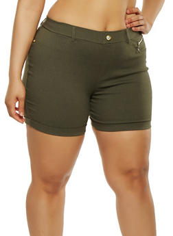 Plus Size Cuffed Stretch Shorts - 1960063400452