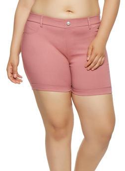 Plus Size Cuffed Stretch Shorts - 1960063400452