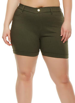 Plus Size Cuffed Stretch Shorts - 1960063400573