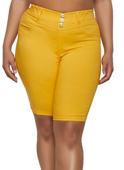 Plus Size Rhinestone Button Bermuda Shorts - 1960063402086