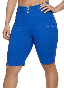 Plus Size Zip Detail Bermuda Shorts - 1960063402089
