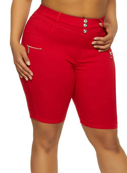 Plus Size Zip Detail Bermuda Shorts - 1960063402089