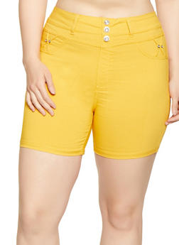 Plus Size High Waisted Shorts - 1960063402094