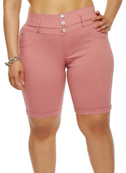 Plus Size Stretch Bermuda Shorts - 1960063405251