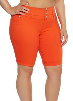 Plus Size Stretch Bermuda Shorts - 1960063405251