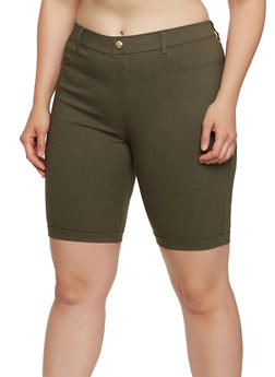 Plus Size Knit Cuffed Bermuda Shorts - 1960063405573