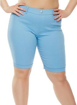 Plus Size Knit Cuffed Bermuda Shorts - 1960063405573