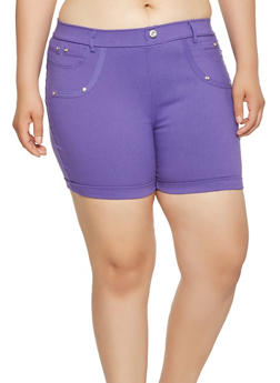 Plus Size Cuffed Stretch Shorts - 1960063407278