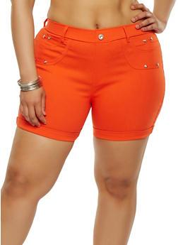 Plus Size Cuffed Stretch Shorts - 1960063407278