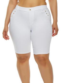 Plus Size Rhinestone Studded Bermuda Shorts - 1960063407286
