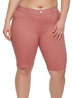 Plus Size Zipper Detail Bermuda Shorts - 1960063407452