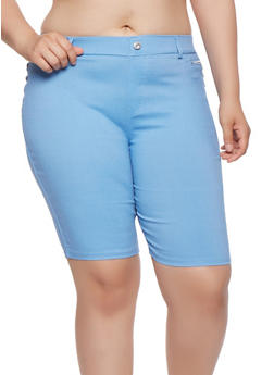 Plus Size Zipper Detail Bermuda Shorts - 1960063407452