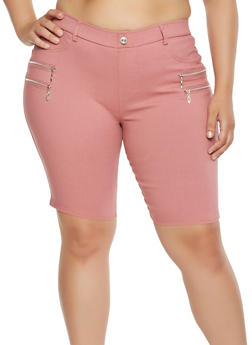 Plus Size Zipper Detail Stretch Bermuda Shorts - 1960063407453