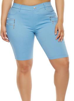 Plus Size Zipper Detail Stretch Bermuda Shorts - 1960063407453