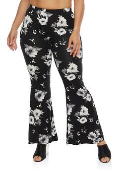 Plus Size Soft Knit Floral Pants - 1961001440066