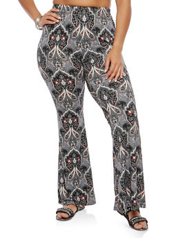 Plus Size Printed Soft Knit Flared Pants - 1961001440067