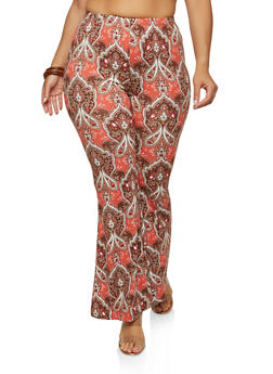 Plus Size Printed Soft Knit Flared Pants - 1961001440666