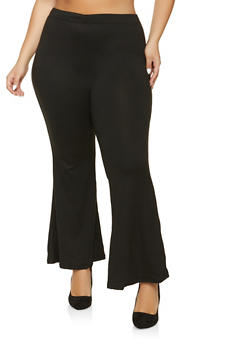 Plus Size Solid Flared Pants - 1961001441006