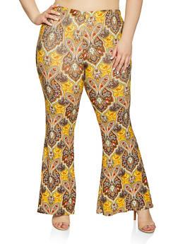 Plus Size Paisley Print Soft Knit Pants - 1961001441060
