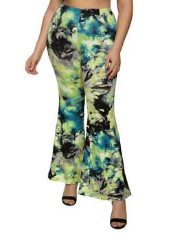 Plus Size Flared Tie Dye Pants - 1961001441117