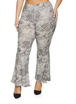 Plus Size Flared Printed Pants - 1961001441167