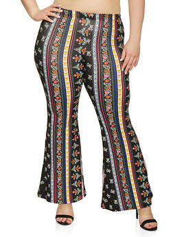 Plus Size Floral Border Print Flared Pants - 1961001441615