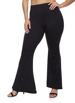 Plus Size Soft Knit Flared Pants - 1961001441666