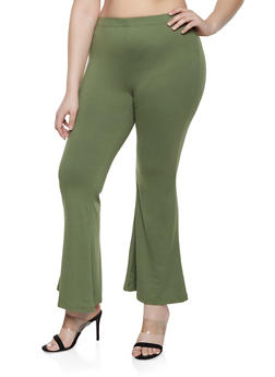Plus Size Soft Knit Flared Pants - 1961001441666